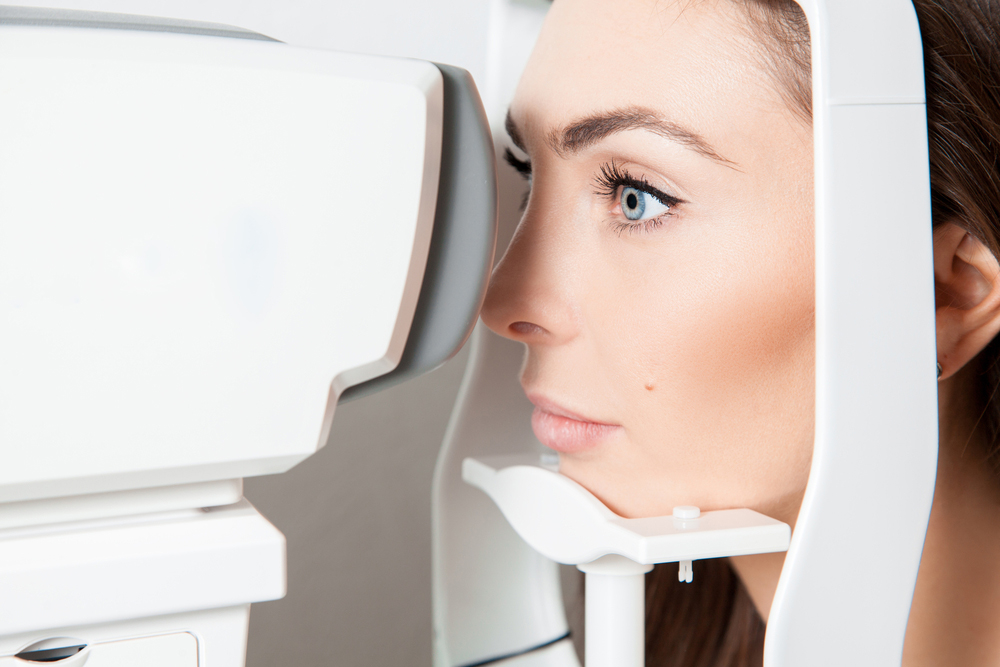 woman being examined for macular degeneration